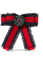 Gucci Frayed Cotton Grosgrain And Crystal Brooch Red