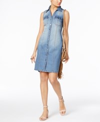 Inc International Concepts Crochet Back Denim Shirtdress Only At Macy's Indigo
