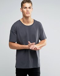 Asos Oversized Longline T Shirt With Scoop Neck In Washed Black Washed Black Grey