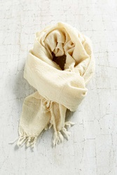 Urban Renewal Auntie Oti Lightweight Wool Throw Blanket Cream