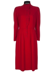 Guy Laroche Vintage Puff Sleeves Dress Red
