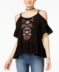 Almost Famous Juniors' Embroidered Cold Shoulder Ruffle Top Black