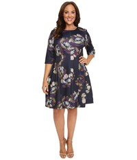 Christin Michaels Plus Size Emellie 3 4 Sleeve Fit And Flare Dress Navy Multi Women's Dress