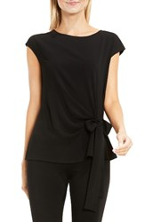 Vince Camuto Women's Mixed Media Tie Front Blouse Rich Black