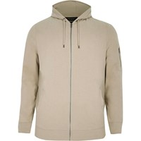 River Island Mensbig And Tall Stone Zip Front Hoodie