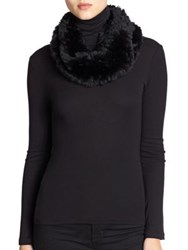 Surell Sheared Rabbit Fur Infinity Scarf Black