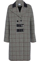 Carven Leather Trimmed Checked Wool Blend Coat Gray