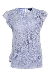 Topshop Lace Asymetrical Ruffle Shell Top Lilac