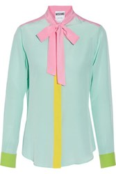 Moschino Pussy Bow Silk Crepe De Chine Shirt Mint