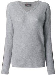 Jo No Fui V Neck Pullover Polyester Cashmere Wool S Grey
