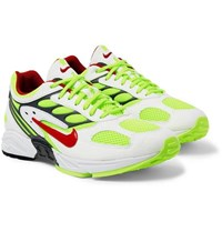 Nike Air Ghost Racer Leather Trimmed Mesh Sneakers White