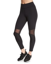 Michi Ballistic Mesh Panel Ribbed Sport Leggings Black