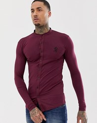 Gym King Muscle Fit Grandad Shirt In Jersey Red
