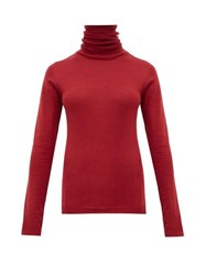 Sara Lanzi Roll Neck Merino Wool Sweater Dark Red