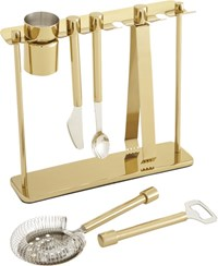 Cb2 Top Shelf Bar Tool Set With Stand