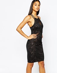 Fleur East By Lipsy Mesh Plunge Front Strappy Bodycon Dress Black