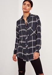 Missguided Pocket Front Check Shirt Navy