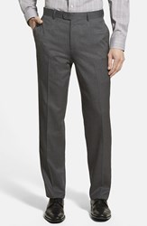 Men's Big And Tall Linea Naturale High Twist Wool Trousers Charcoal