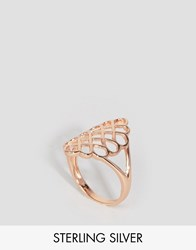 Lavish Alice Sterling Silver Rose Gold Plated Oversized Honeycomb Ring Rose Gold