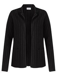 Jigsaw Pinstripe Knit Jacket Black
