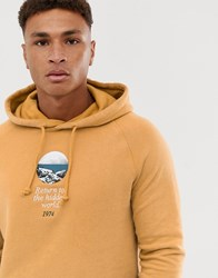 Pull And Bear Pullandbear Hoodie In Tan With World Embroidery