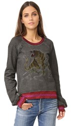 Pam And Gela Embroidered Crew Neck Sweatshirt Oil Grey