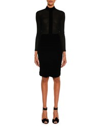 Tom Ford Long Sleeve Jersey Turtleneck Top Black