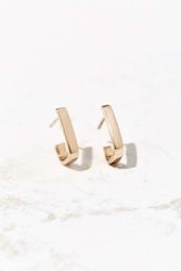 Urban Renewal Upper Metal Class Square Angle Open Hoop Earring Bronze