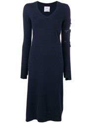 Barrie Midi Sweater Dress Blue