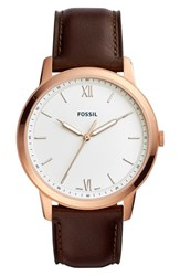 Fossil Minimalist Leather Strap Watch 44Mm Brown White Rose Gold