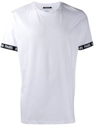 Balmain Logo Sleeve T Shirt White