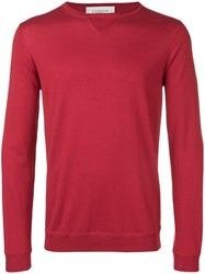 Laneus Long Sleeve Fitted Sweater Red