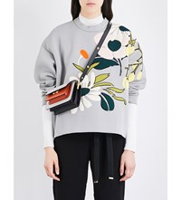Marni Embellished Patch Appliqua Neoprene Sweatshirt Titanium