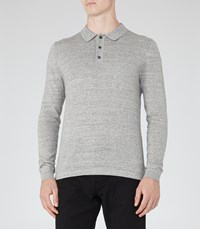 Reiss Tucker Mens Melange Polo Shirt In Grey