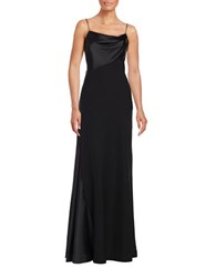 Vera Wang Satin Trimmed A Line Gown Black