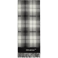 Off White Black And Check Blanket Scarf