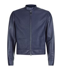 Stefano Ricci Woven Panel Leather Jacket Male Blue