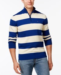 Tommy Hilfiger Rugby Striped Quarter Zip Sweater Diamond Blue Seed Pearl