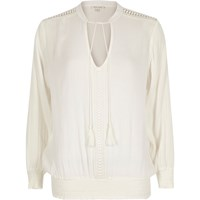 River Island Womens White Lace Trim Smock Top