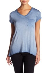 Cable And Gauge Washed V Neck Short Sleeve Tee Petite Blue