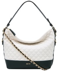 Nine West Elinora Quilted Chain Medium Hobo Milk Black