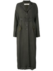 Damir Doma Belted Overcoat Women Cotton Linen Flax Cupro Viscose Xs Brown