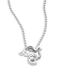 Alex Woo Little Words Sterling Silver Dove Necklace