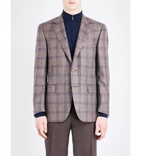Canali Checked Wool Blend Jacket Brown
