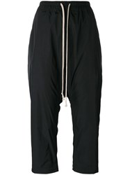 Rick Owens Drop Crotch Cropped Trousers Black
