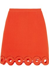 Carven Mesh Trimmed Cutout Crepe Mini Skirt Tomato Red