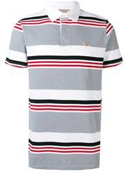 Maison Kitsune Striped Polo Shirt Men Cotton Linen Flax S Grey