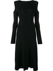 Barbara Casasola Ribbed Cold Shoulder Dress Black