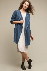 Anthropologie High Plains Chambray Anorak Denim Dark
