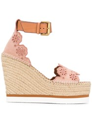 See By Chloe Floral Lauren Espadrille Sandals Leather Rubber Pink Purple